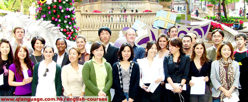 Group of Q Language English Course Students & teachers