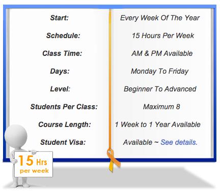 Intensive 15 Mandarin Chinese class schedule