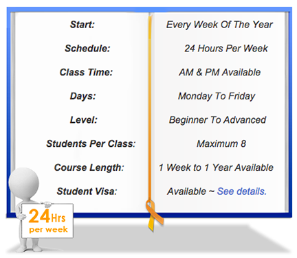 Intensive 24 Mandarin Chinese class schedule
