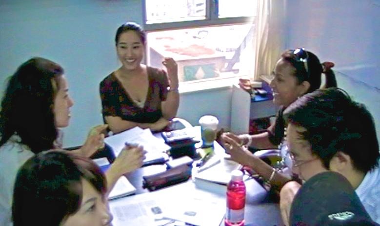 english language students in class at Q Language Hong Kong