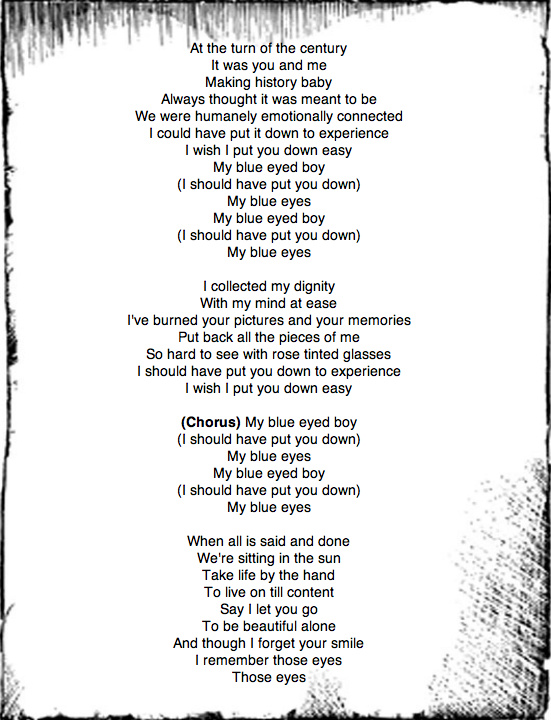 lyrics to Blue Eyed boy by Kosheen