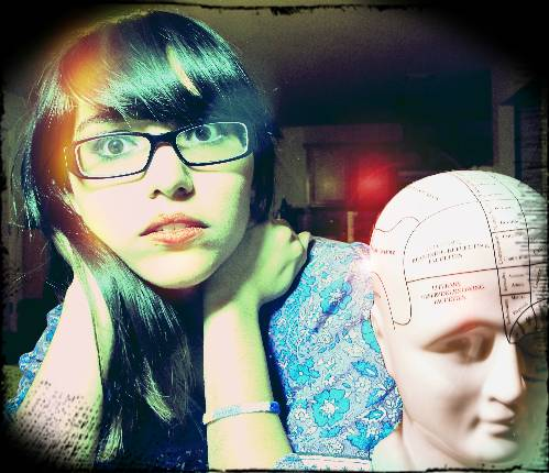 language student with model of brain