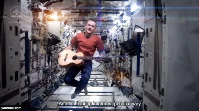 Chris Hadfield floating in a most peculiar way