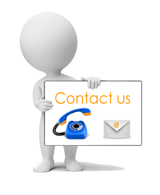 cartoon character with contact us sign