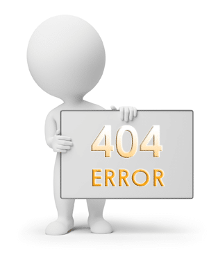 Cartoon character holding 404 error message sign