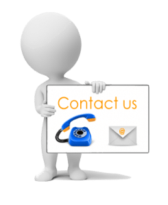 cartoon character holding contact us sign