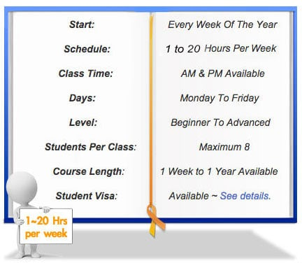 Private English course schedule