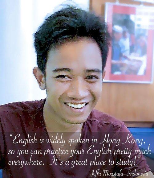 Q Language English student, Jefri fro Indonesia.